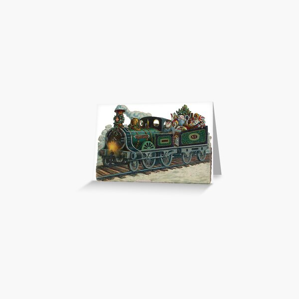 Vintage Train Christmas Card Greeting Card