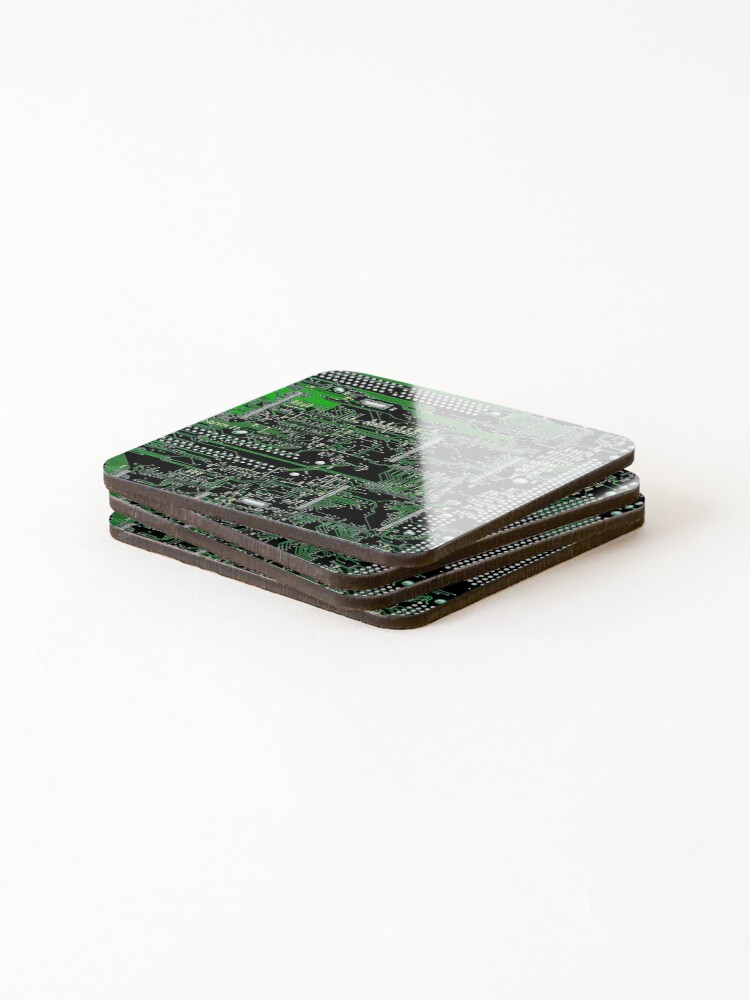 Alternate view of Circuit Board Green Coasters (Set of 4)