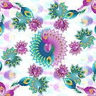 Purple and Turquoise Abstract Peacock Feathers by uniiunMB