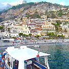 Positano: landscape with boats by Giuseppe Cocco