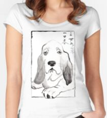 Hound in Japanese Ink Wash Women's Fitted Scoop T-Shirt