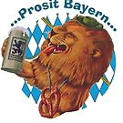 Prosit Bayern...Cheers Bavaria...cute vintage lion  by edsimoneit
