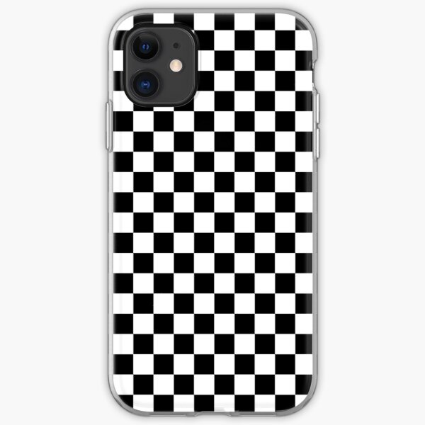 Check pattern. Checkered pattern. Black and white check pattern. Checkerboard. Chessboard. iPhone Soft Case