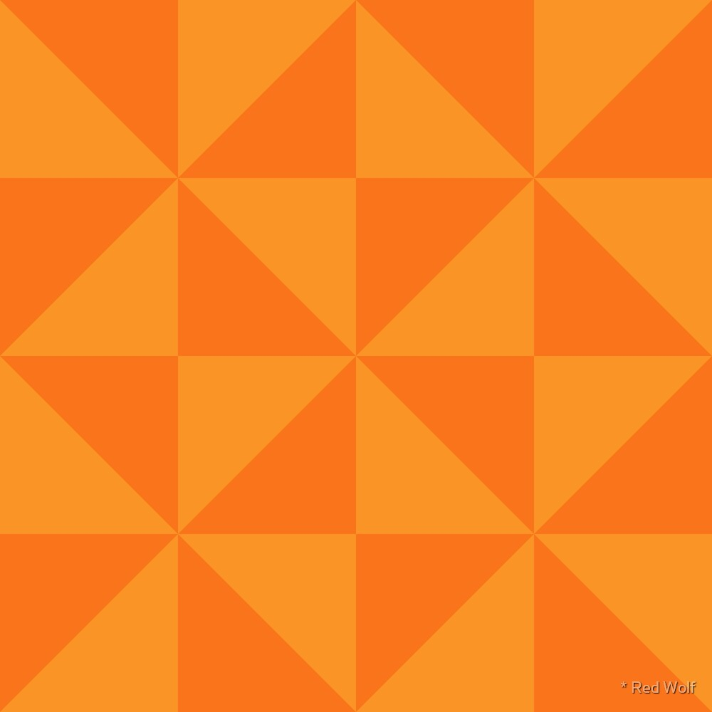 Geometric Pattern: Square Triangle: Dark Orange by * Red Wolf