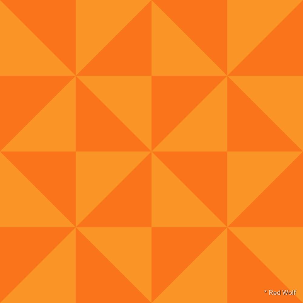 Geometric Pattern: Square Triangle: Dark Orange by * Red Wolf