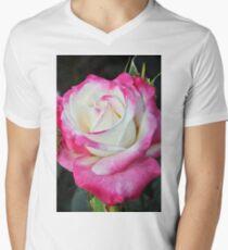 Pink and white rose Men's V-Neck T-Shirt
