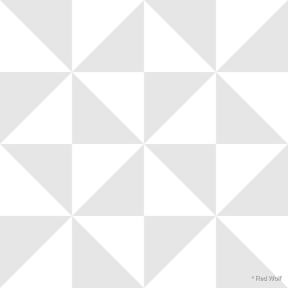 Geometric Pattern: Square Triangle: Monochrome White by * Red Wolf