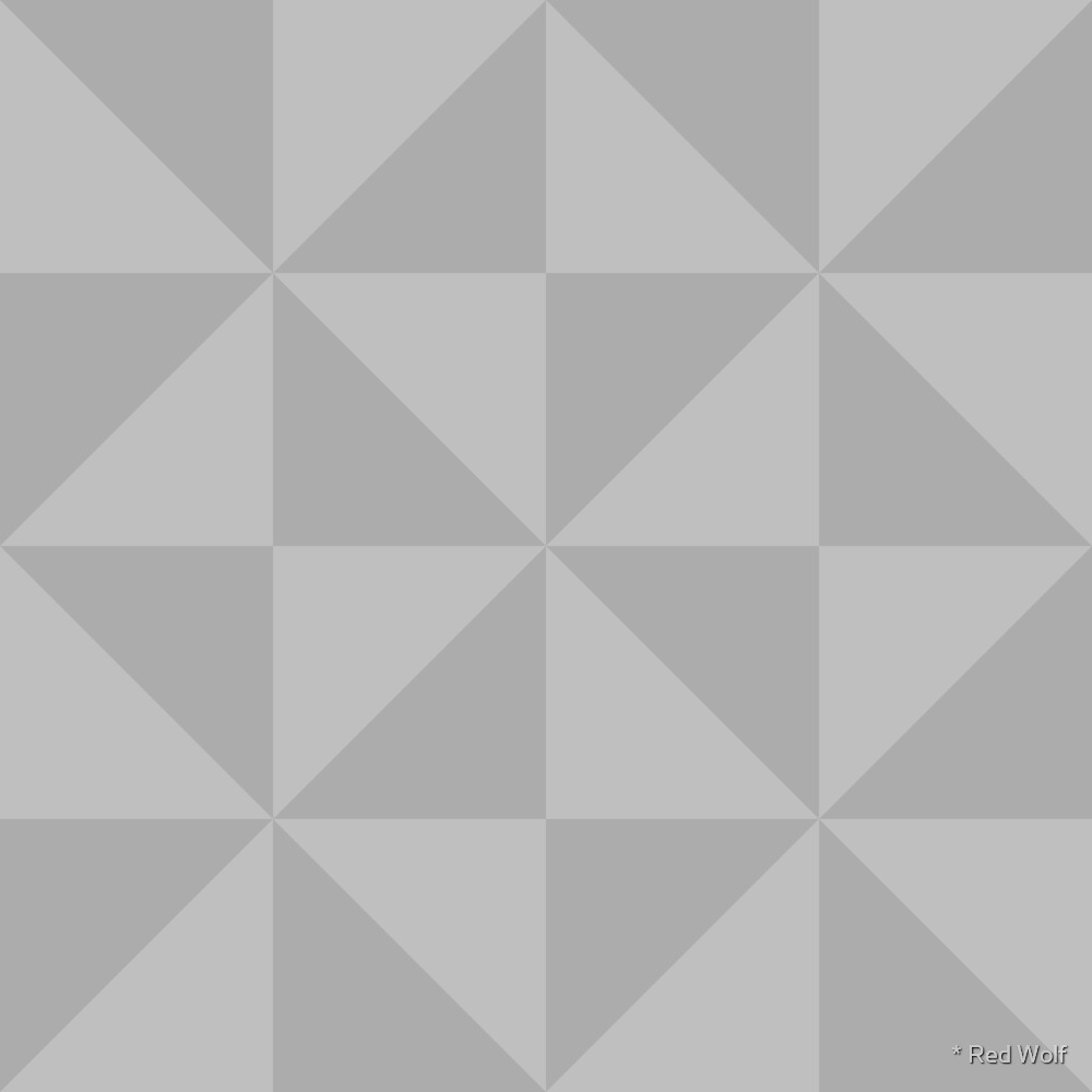 Geometric Pattern: Square Triangle: Monochrome Grey Ash by * Red Wolf