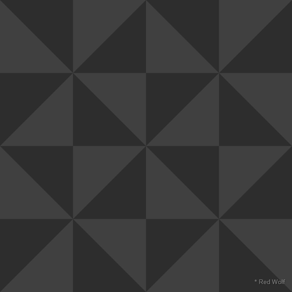 Geometric Pattern: Square Triangle: Monochrome Grey Charcoal by * Red Wolf