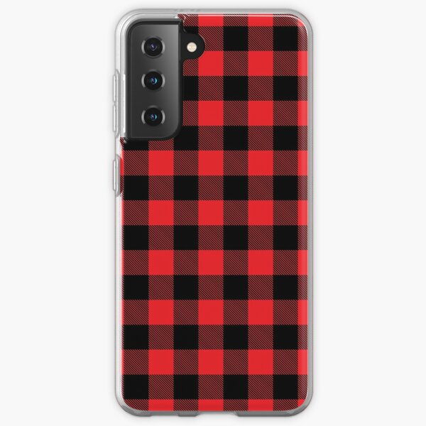 Buffalo plaid in red and black.  Samsung Galaxy Soft Case