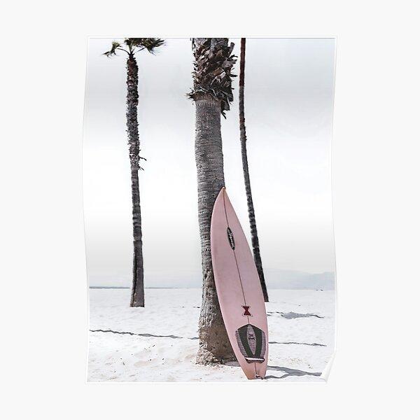 Pink Surfboard on Beach Retro Modern Poster Poster