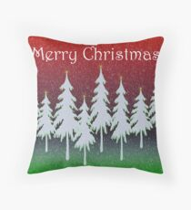 Red Forest Christmas card Throw Pillow