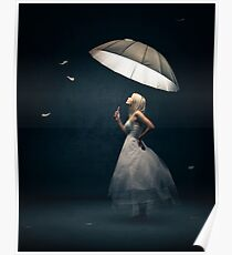 Girl with Umbrella and feathers Poster