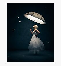 Girl with Umbrella and feathers Photographic Print