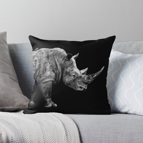 SAFARI PROFILE - RHINO BLACK EDITION Throw Pillow