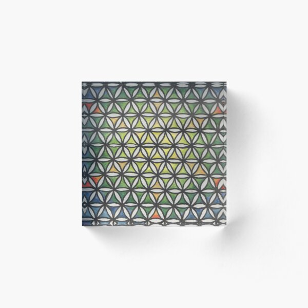 rainbow sacred geometry Acrylic Block