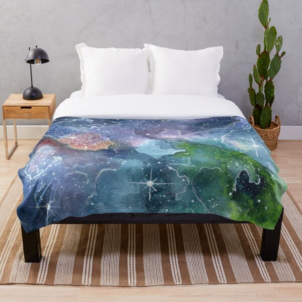 Super rainbow cosmic canvas Throw Blanket