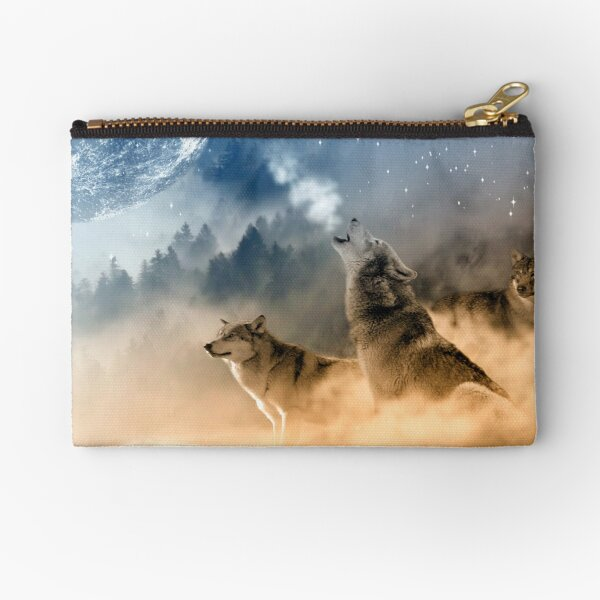 Wolves Howling At The Moon / Beautiful Wolves Zipper Pouch