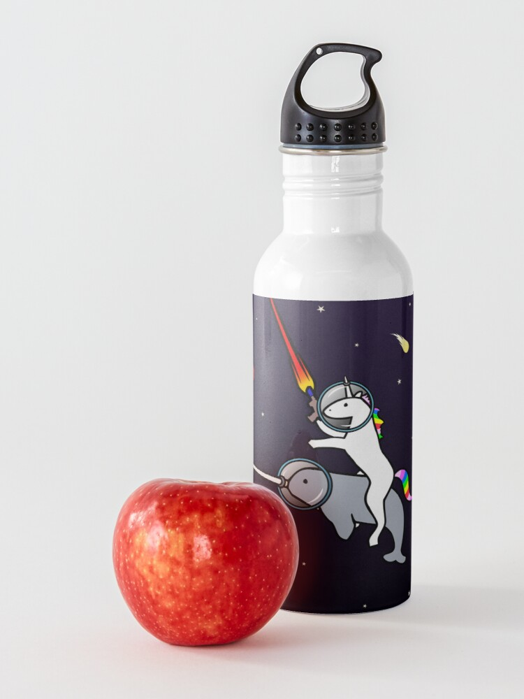 Alternate view of Unicorn Riding Narwhal In Space Water Bottle