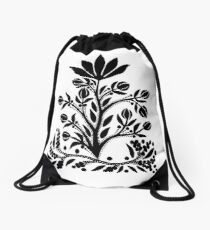 Black Velvet Flower on White Drawstring Bag