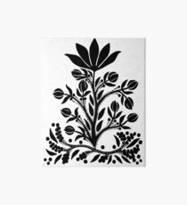 Black Velvet Flower on White Art Board Print