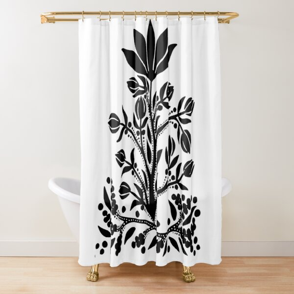 Black Velvet Flower on White Shower Curtain