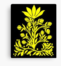 Yellow Velvet Flower on Black Canvas Print