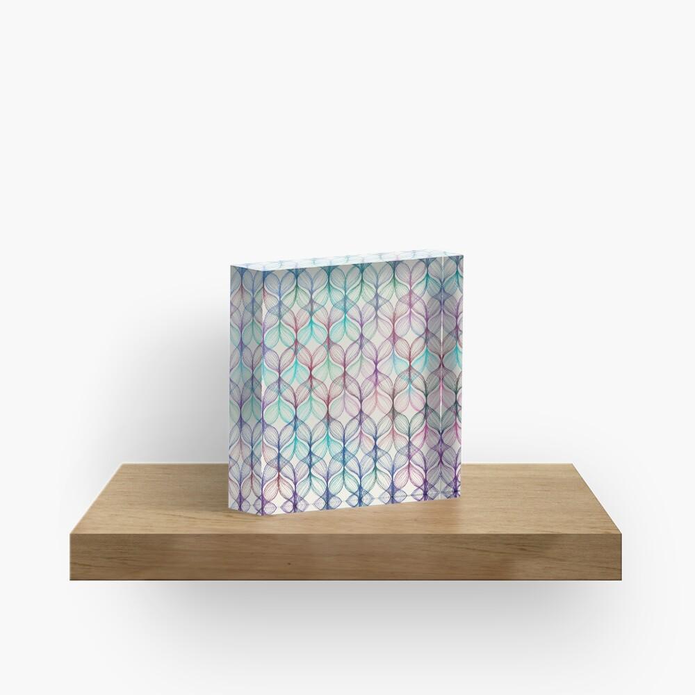 Mermaid's Braids - a colored pencil pattern Acrylic Block