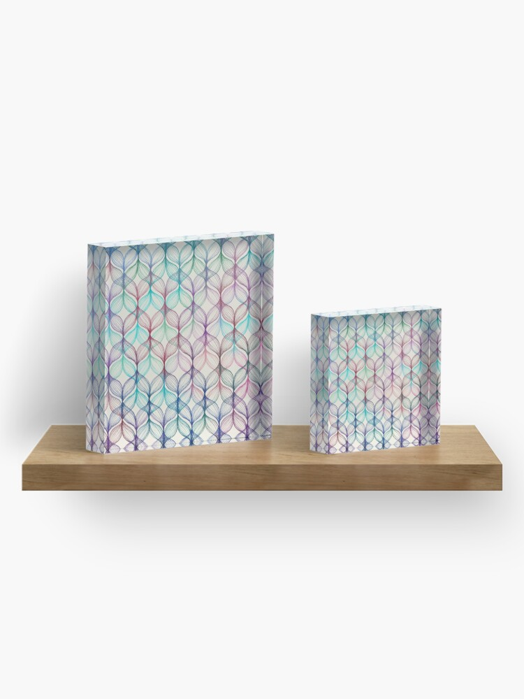 Alternate view of Mermaid's Braids - a colored pencil pattern Acrylic Block