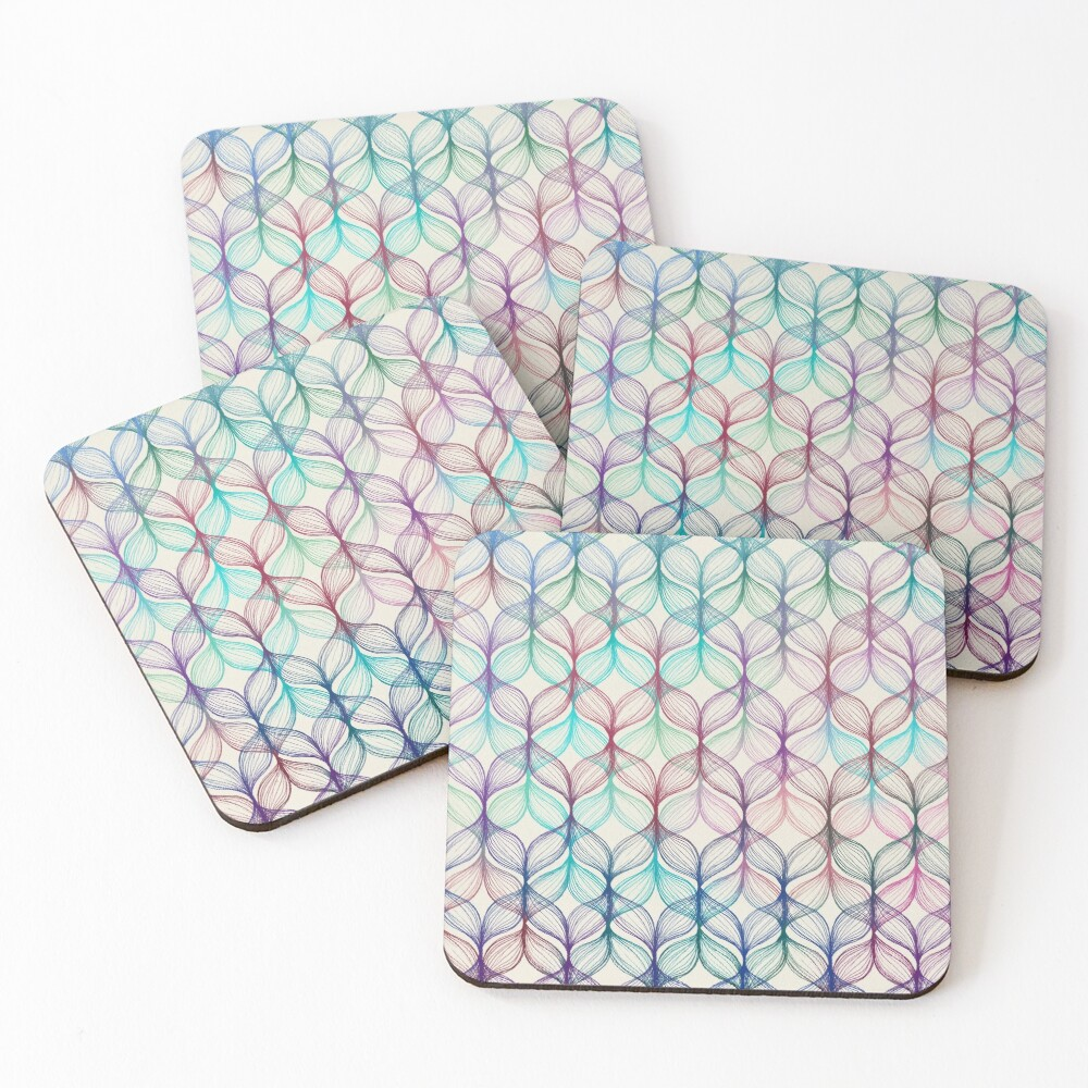 Mermaid's Braids - a colored pencil pattern Coasters (Set of 4)