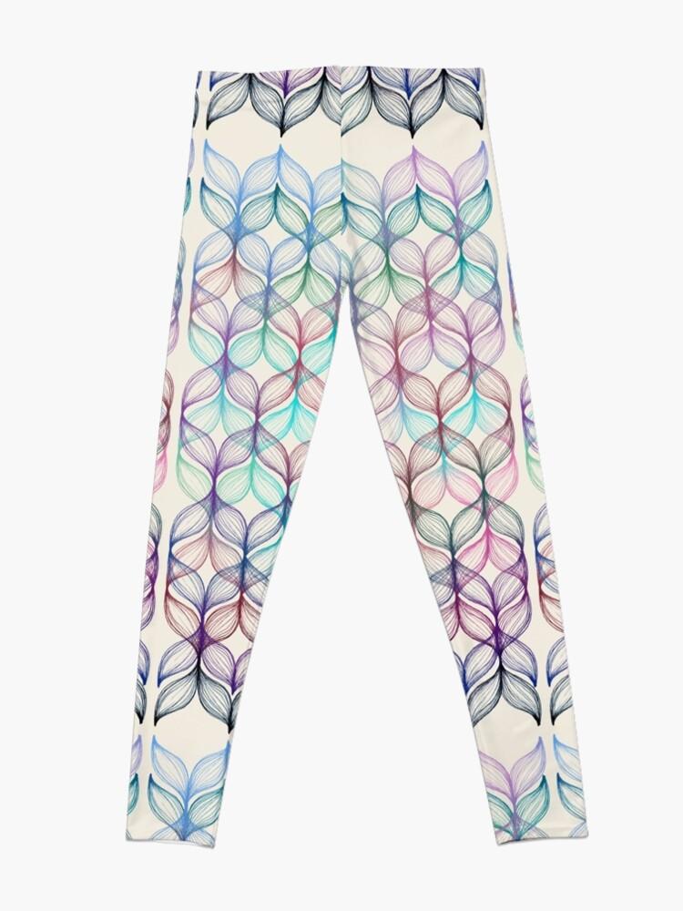 Alternate view of Mermaid's Braids - a colored pencil pattern Leggings