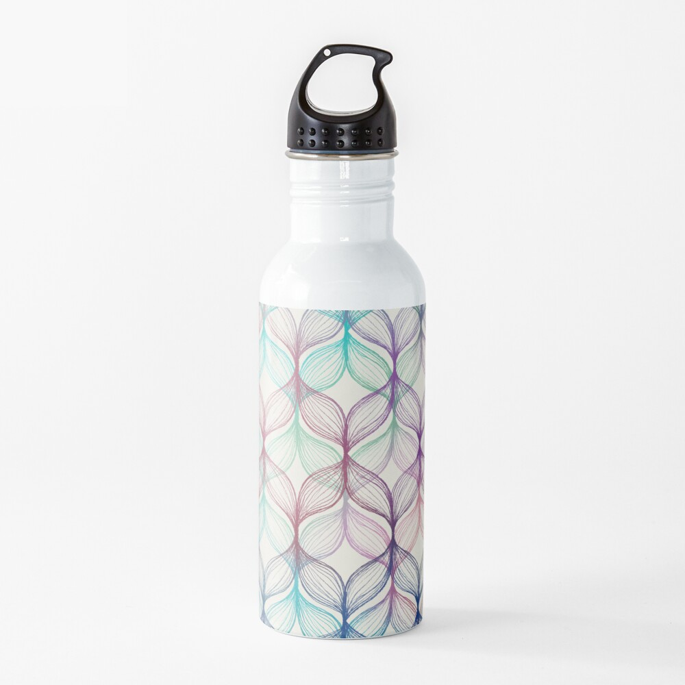 Mermaid's Braids - a colored pencil pattern Water Bottle