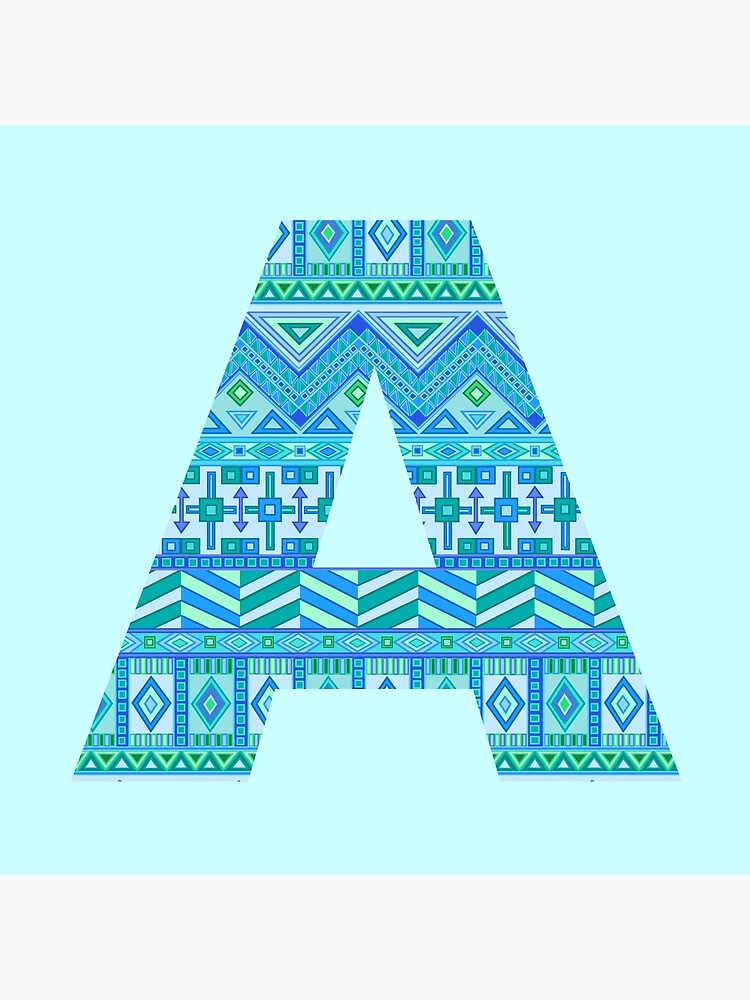 Letter A Blue Aztec Stripes Pattern Boho Monogram Initial by theartofvikki
