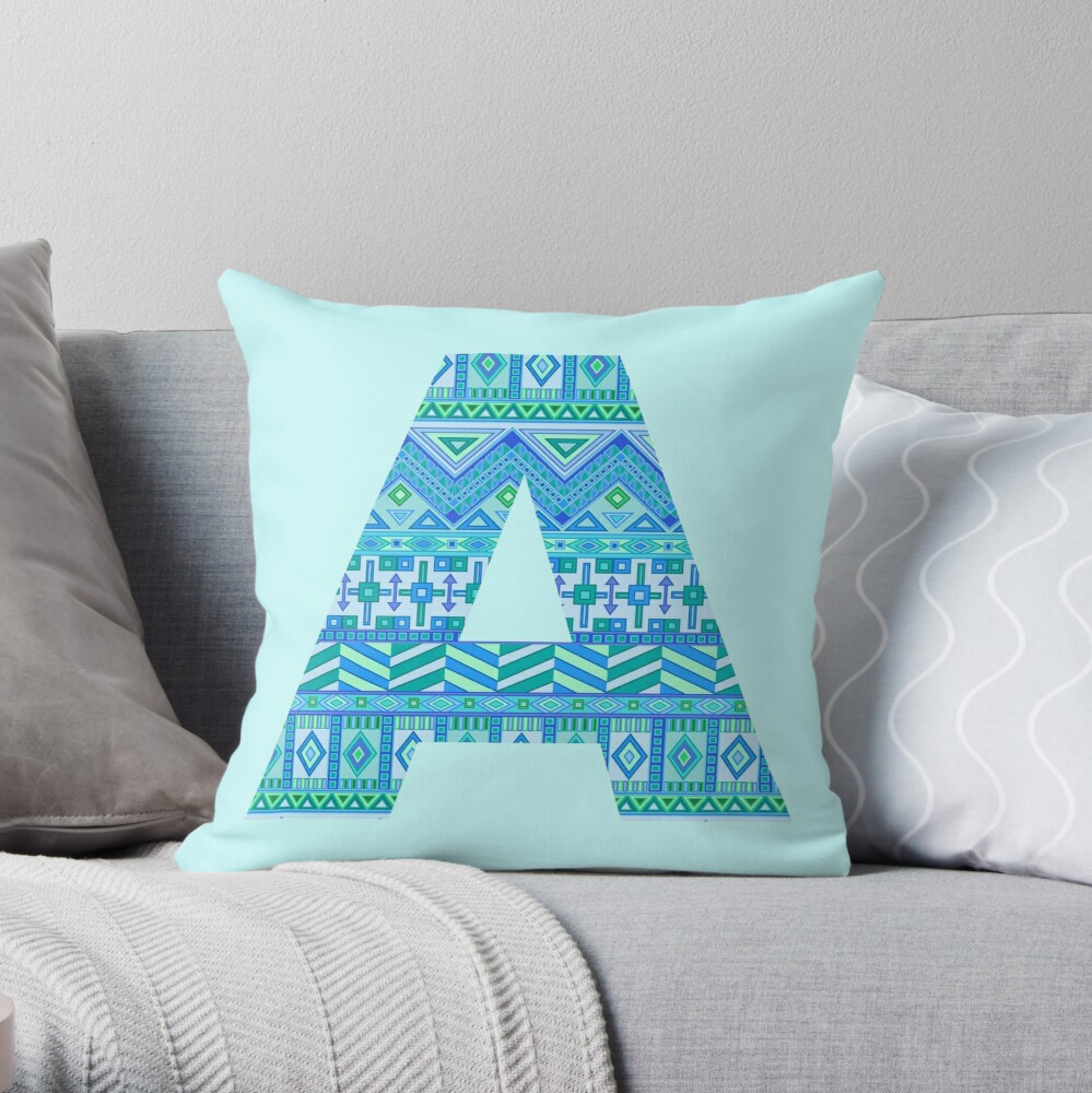 Letter A Blue Aztec Stripes Pattern Boho Monogram Initial Throw Pillow