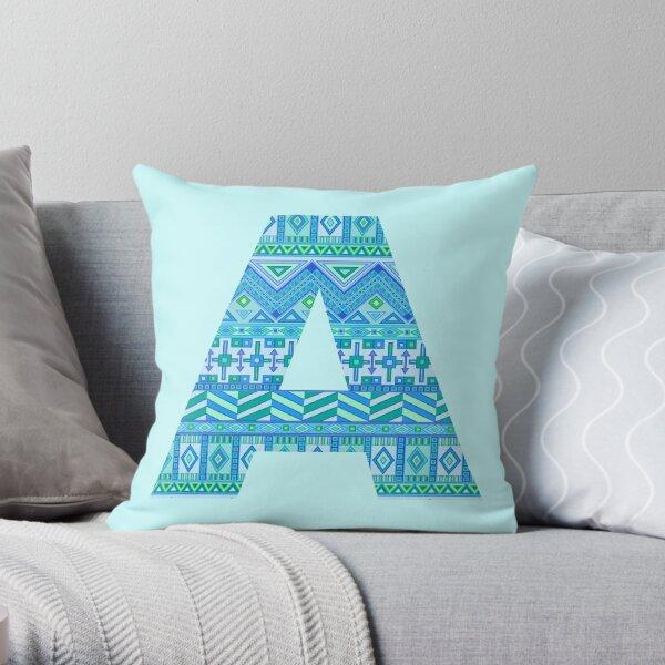 Letter A Blue Aztec Stripes Pattern Boho Monogram Initial Throw Pillow
