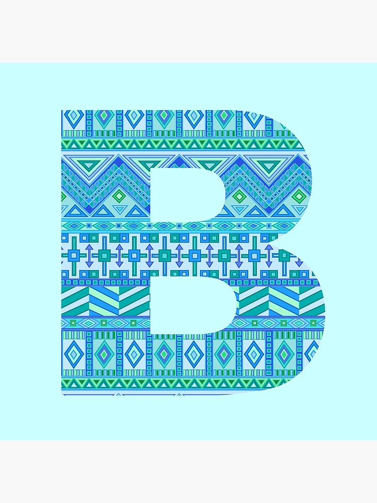 Letter B Blue Aztec Stripes Pattern Boho Monogram Initial by theartofvikki