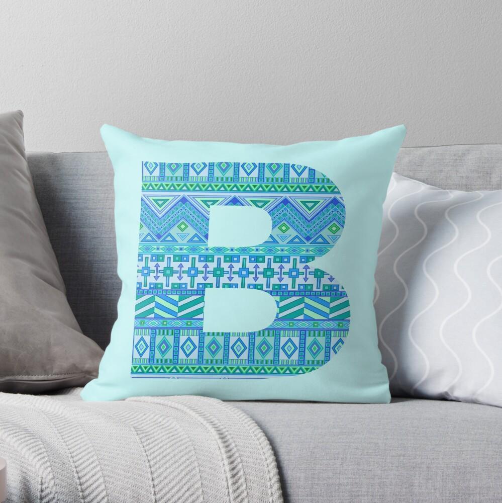 Letter B Blue Aztec Stripes Pattern Boho Monogram Initial Throw Pillow