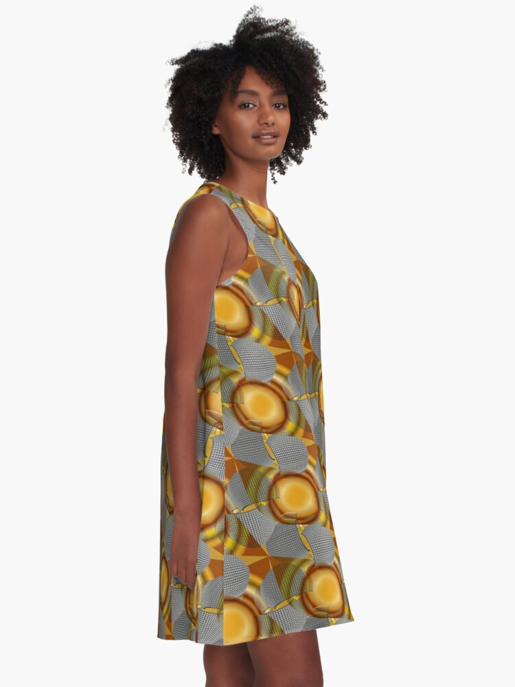 Alternate view of Metalight - Abstract chrome shapes with golden radial gradient A-Line Dress