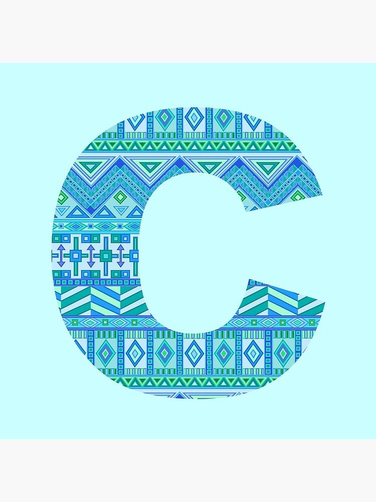 Letter C Blue Aztec Stripes Pattern Boho Monogram Initial by theartofvikki