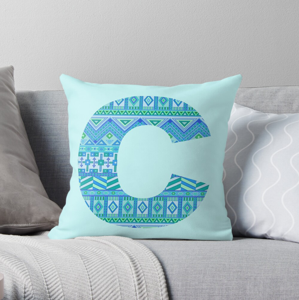 Letter C Blue Aztec Stripes Pattern Boho Monogram Initial Throw Pillow