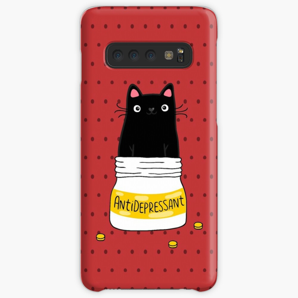 FUR ANTIDEPRESSANT . Cute black cat illustration. A gift for a pet lover. Case & Skin for Samsung Galaxy