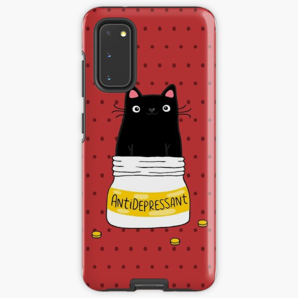 FUR ANTIDEPRESSANT . Cute black cat illustration. A gift for a pet lover. Samsung Galaxy Tough Case