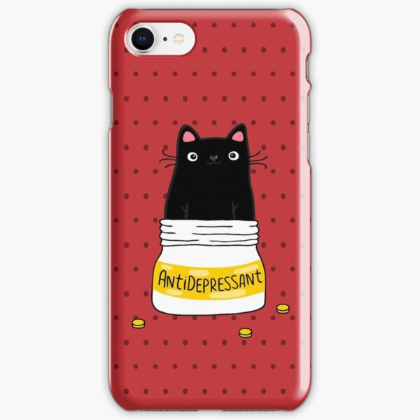 FUR ANTIDEPRESSANT . Cute black cat illustration. A gift for a pet lover. iPhone Snap Case