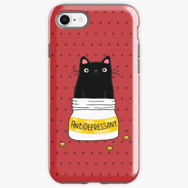 FUR ANTIDEPRESSANT . Cute black cat illustration. A gift for a pet lover. iPhone Tough Case