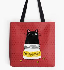 FUR ANTIDEPRESSANT . Cute black cat illustration. A gift for a pet lover. Tote Bag