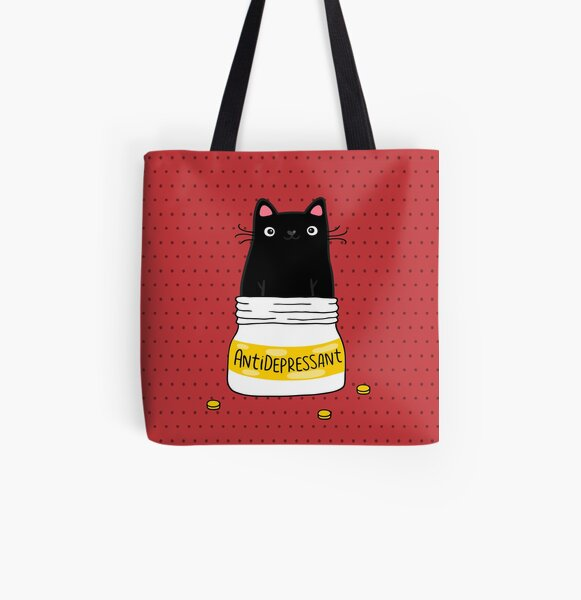 FUR ANTIDEPRESSANT . Cute black cat illustration. A gift for a pet lover. All Over Print Tote Bag