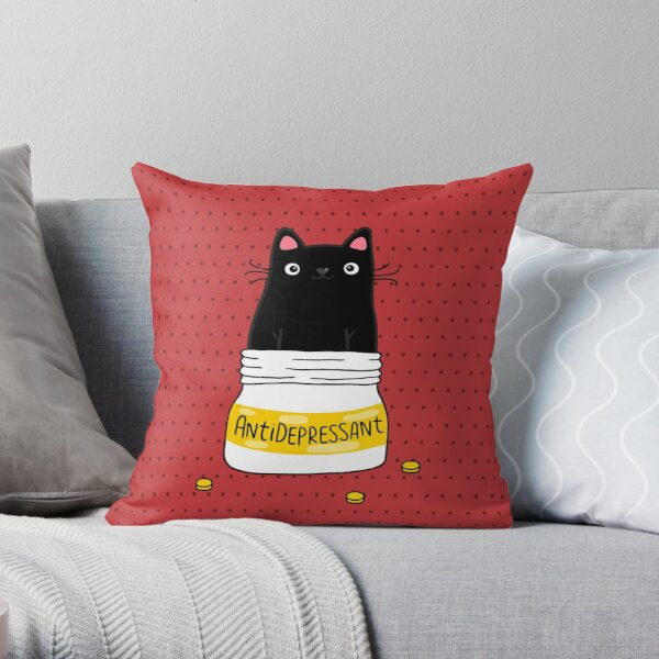 FUR ANTIDEPRESSANT . Cute black cat illustration. A gift for a pet lover. Throw Pillow