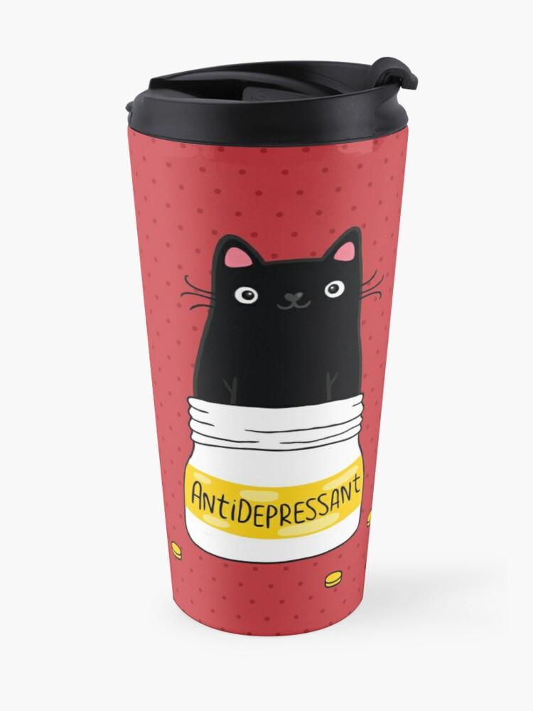Alternate view of FUR ANTIDEPRESSANT . Cute black cat illustration. A gift for a pet lover. Travel Mug