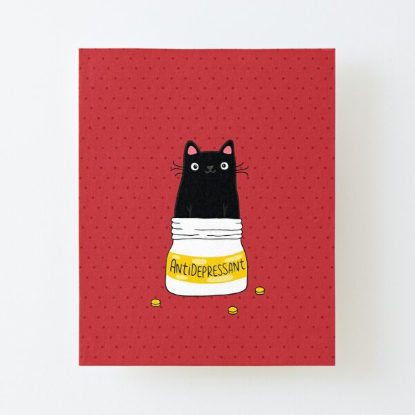 FUR ANTIDEPRESSANT . Cute black cat illustration. A gift for a pet lover. Canvas Mounted Print