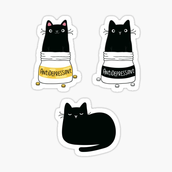 FUR ANTIDEPRESSANT . Cute black cat illustration. A gift for a pet lover. Sticker